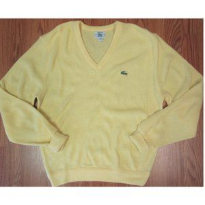 VTG LACOSTE Mens ACRYLIC SWEATER PALE YELLOW LARGE